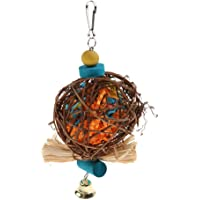 Prettyia Pet Bites Parrots Bird Chews Toy Rattan Ball Cage That