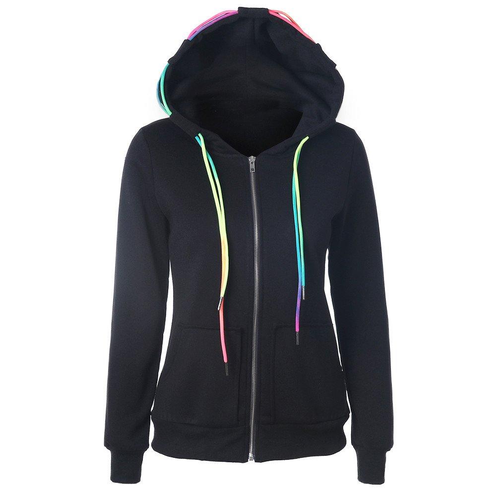 ✿ Mode Femmes Manteau , Ularmo® Sweat à Capuche Sweat-shirt Veste à Fermeture éclair ✿ (XL, Noir) ✿ Mode Femmes Manteau Ularmo® -23