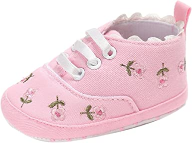 Infant Baby Girls Soft Floral Crib Shoes Soft Sole Anti-slip Sneakers Canvas