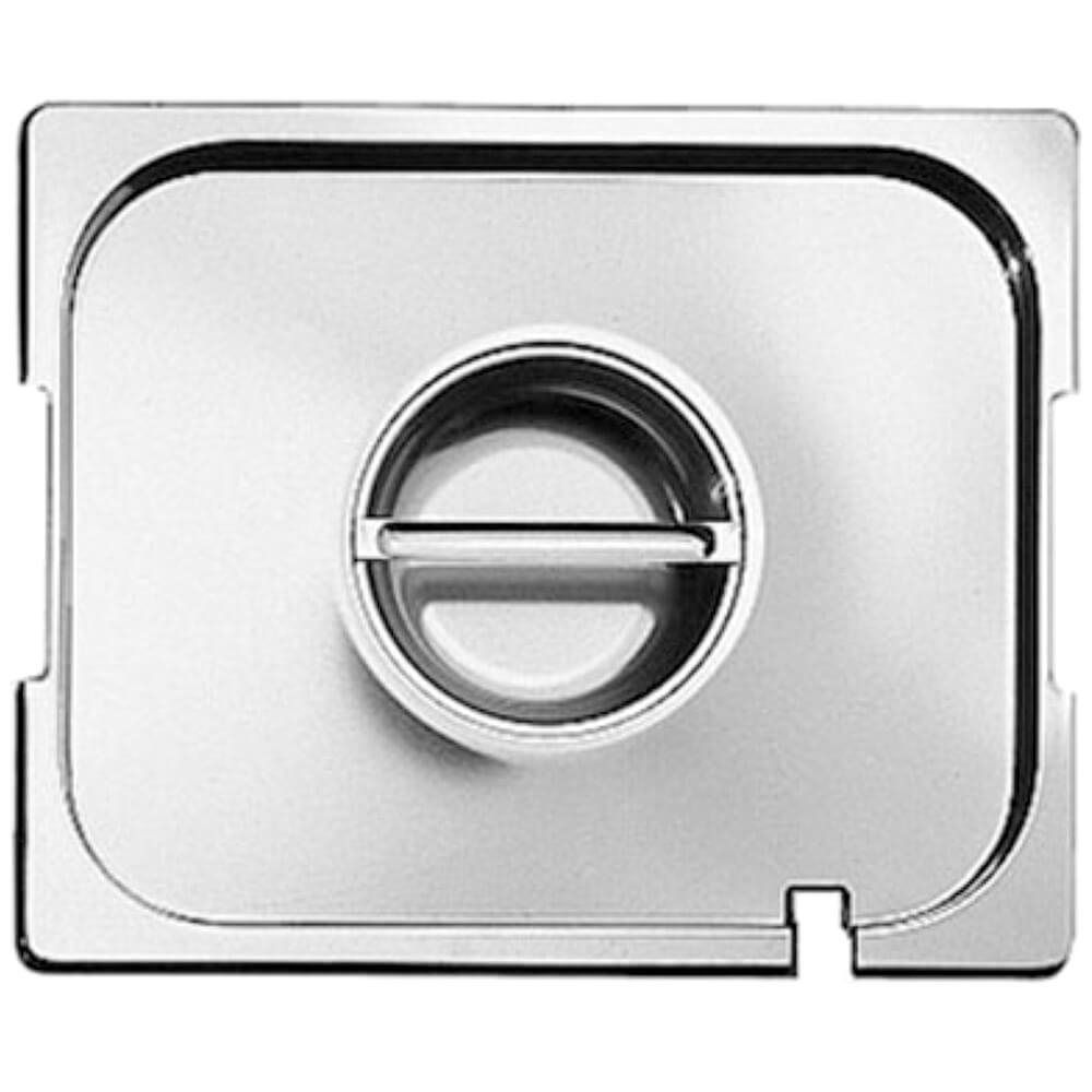 Paderno World Cuisine 12 1/2 inches by 10 1/2 inches Stainless-steel Lid with Notched Handle for Hotel Pan - 1/2
