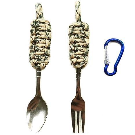 Veizn - Vajilla portátil al aire libre, cubiertos de camping salvaje, cuchillo portátil y