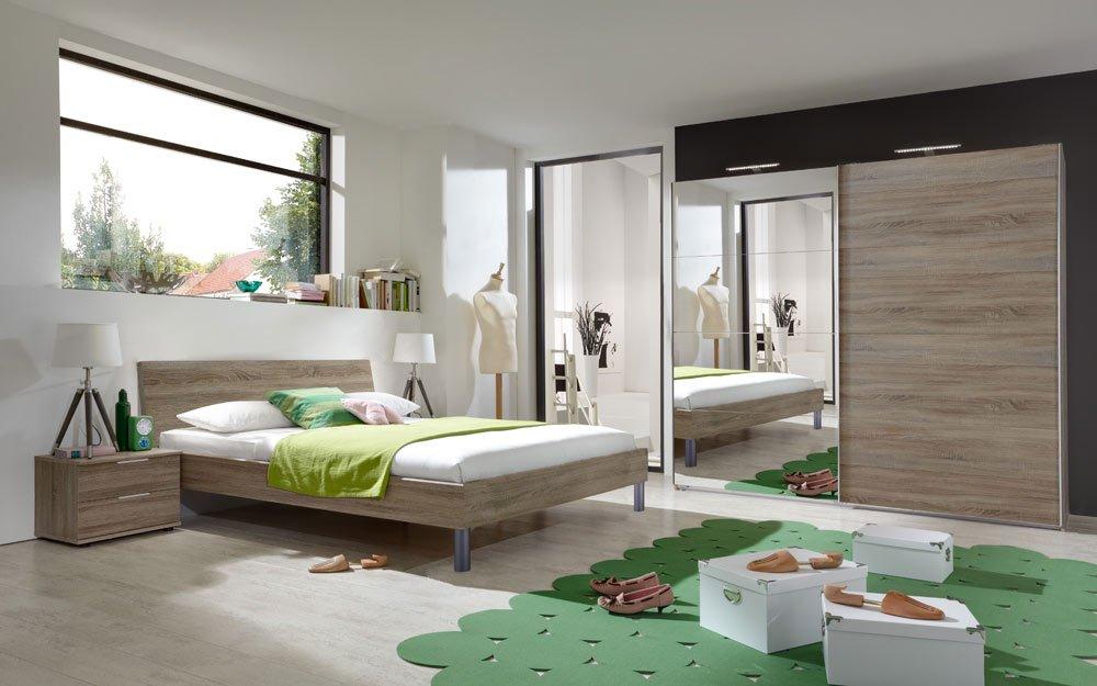Schlafzimmer 3-tlg. in Montana Eiche-Nb, 2-trg. Spiegelschrank B: 225, cm, Futonbett 180 x 200 cm, 2 Nachtschränke B: 52 cm