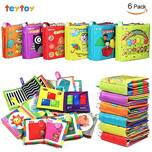 My First Soft Book,TEYTOY 6 PCS Nontoxic Fabric Baby Cloth B