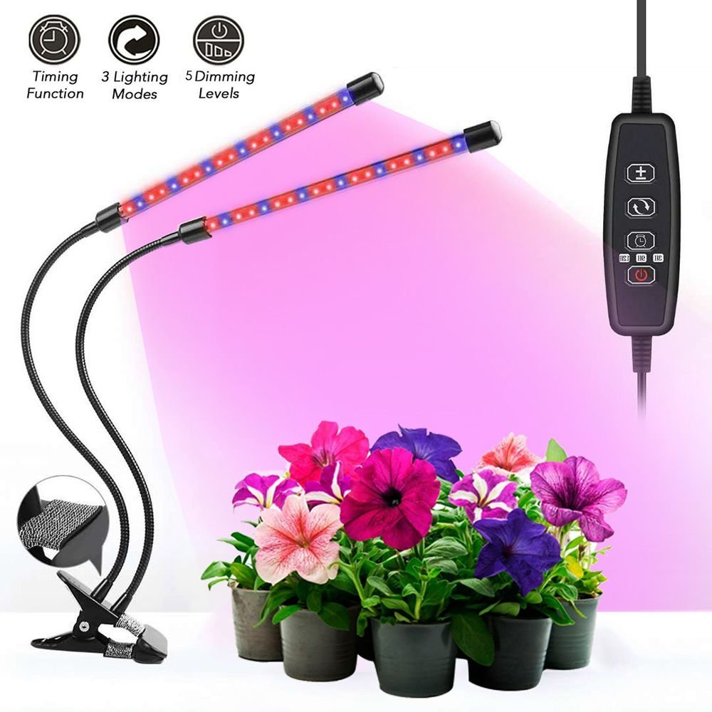 DISTIll Upgraded 18W Dual Head Timing Plant Grow Light 36 LED 5 Dimmable Levels LED Plant Grow Lamp with Red/Blue Spectrum, 360° Flexible Adjustable Gooseneck for Indoor Plants Hydroponics Greenhouse