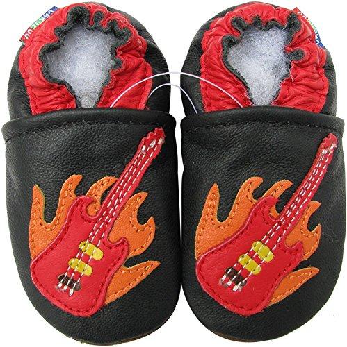Carozoo Guitar Black Baby Boy Soft Sole Leather Shoes Black