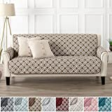 Modern Printed Reversible Stain Resistant Furniture Protector with Geometric Design. Perfect Cover for Pets and Kids. Adjustable Elastic Straps Included. Liliana Collection (Sofa, Fossil Brown)