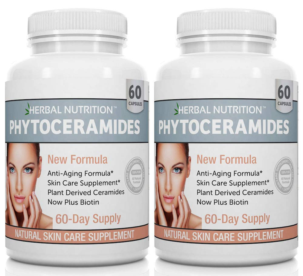 Phytoceramides Rice Based with Biotin Anti Aging Supplement, Wrinkle Remover and Facial Moisturizing with Phytoceramides Vitamin A, C, D and E, Two Bottle Pack, 120 Capsules 40mg, Gluten Free