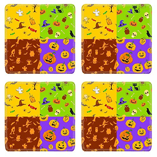 Liili Natural Rubber Square Coasters IMAGE ID: 25749593 illustration of set of colorful seamless background for (Bar 366 Halloween)