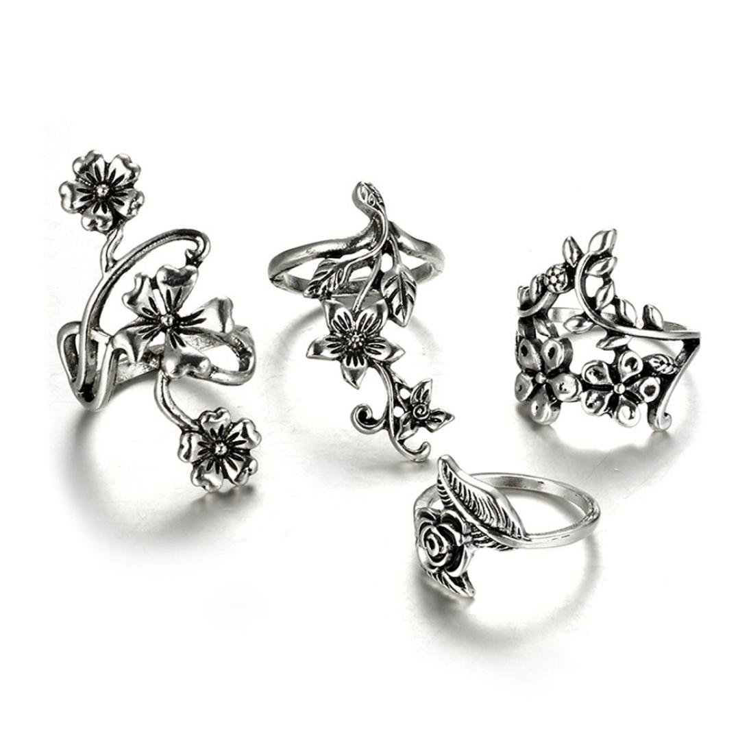 Clearance ! Vintage Ring Set,Vanvler 7pcs Stack Rings Above Knuckle Bohemian Rings (Silver Flowers)