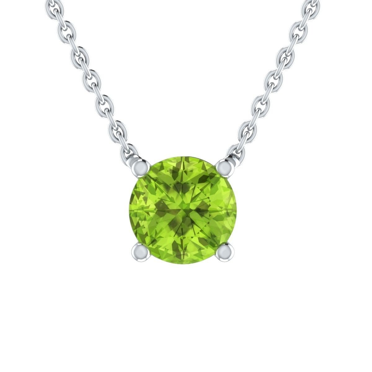 Ringjewels Solitaire Pendant Necklace for Girls 2 Ct Round Green Peridot Diamond 14K White Gold Plated