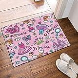 Lovely Girl Series Crown Princess Dress Rainbow Butterfly Bath Rugs Non-Slip Doormat Floor