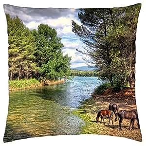 a horse family grazing along a river hdr - Throw Pillow Cover Case (18