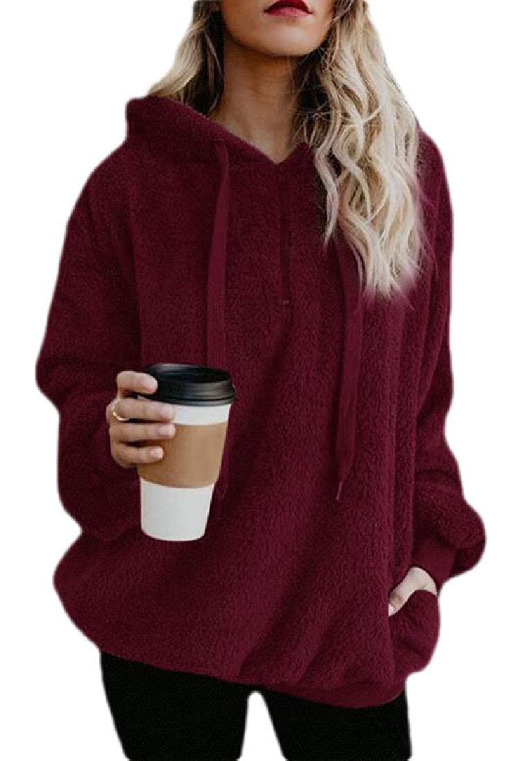 Zantt Womens Loose Fit Plus Size Fuzzy Solid Color Zip Up Pullover Hooded Sweatshirt Top