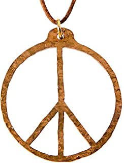 product image for Hand Hammered Peace Symbol Peace Bronze Pendant Necklace on Adjustable Natural Fiber Cord