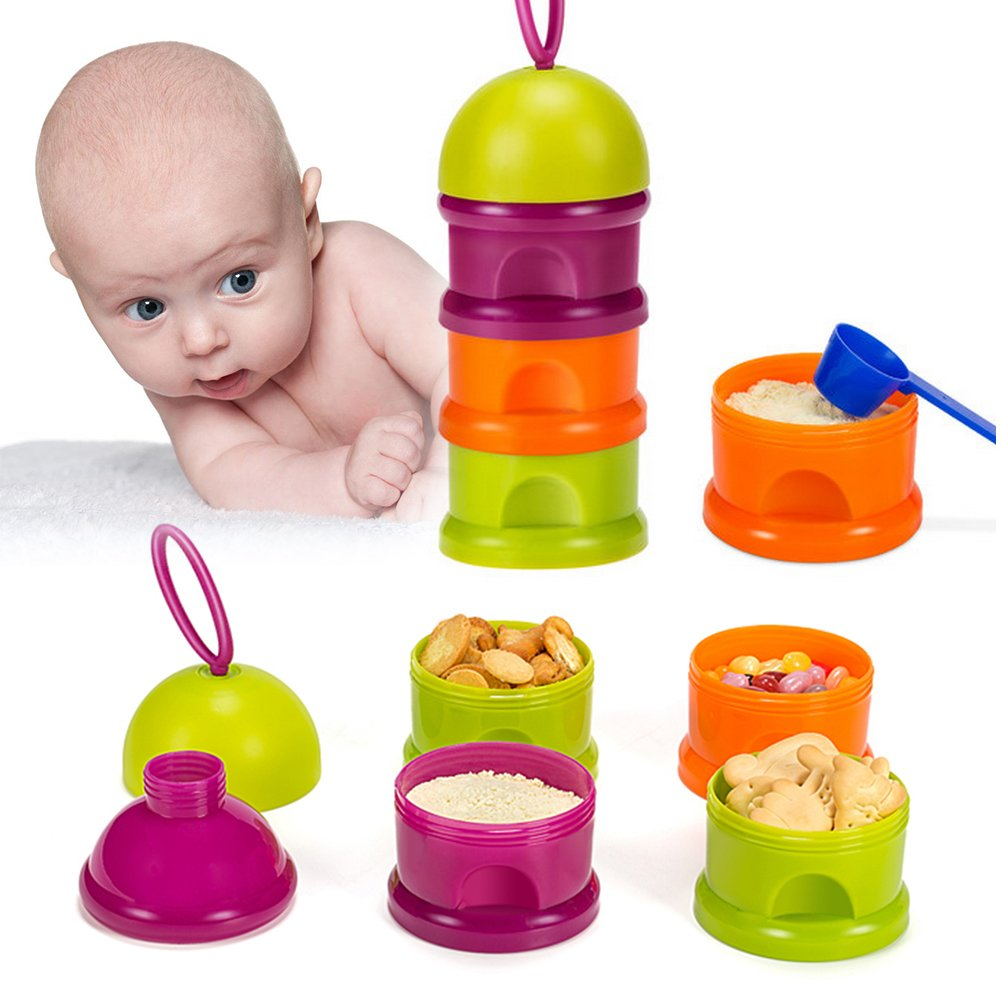 Luerme 3 Layers Milk Powder Dispenser Box Case Formula Baby Feeding Travel Storage Container with Handle