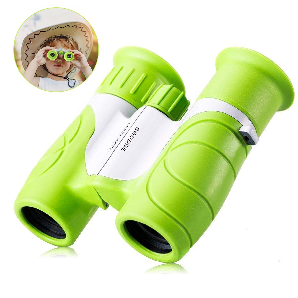 8x21 Kids Binoculars,SGODDE Compact Binoculars-Shock Proof,Waterproof,HD Vision,Teens Toys Telescope,Children Gifts for Outdoor Camping, Hunting, Hiking,Travelling,Concert Green Compact