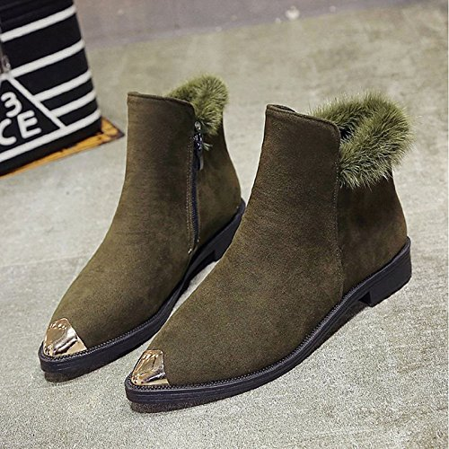 Mid for Boots Boots Boots Winter Nubuck Calf Flat Gray Pointed Combat Dark HSXZ Black Casual Heel Toe leather ZHZNVX Green Black Women's Shoes Wq0nOw8Za