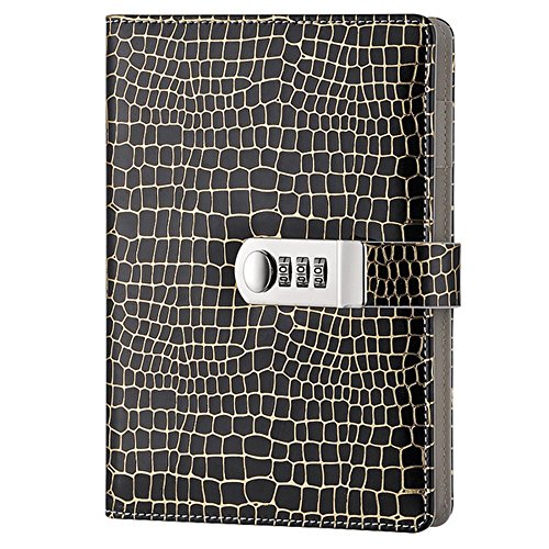 A5 Password Notebook Leather Travel Writting Diary Journal Notebook with Combination Lock TPN095 (Black) by Yakri