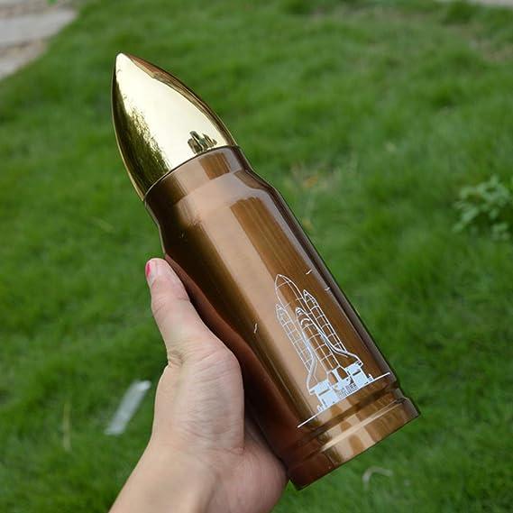 inoxidable botella de bala cohete vacío botellas Hombres protección contra el frío frío taza de té café Recipientes con aislamiento térmico Copa (Ejercito ...