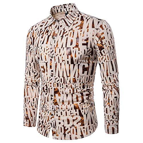 Stoota Fashion Men's Printing Casual Shirts Long Sleeve Button Down Shirt Khaki from Stoota