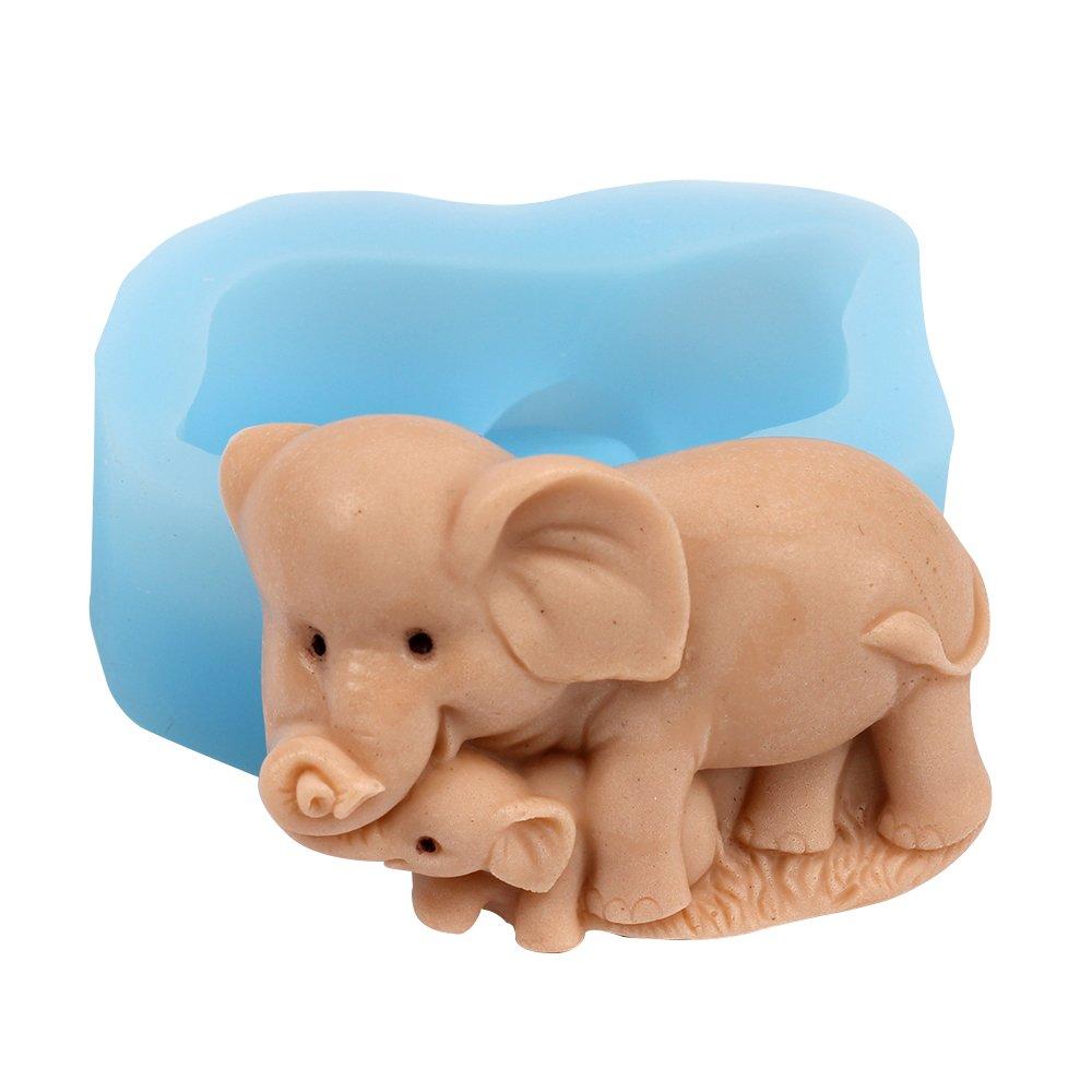 Nicole r1666 elefante madre y niño silicona jabón molde hecho a mano jabón molde para hacer: Amazon.es: Juguetes y juegos