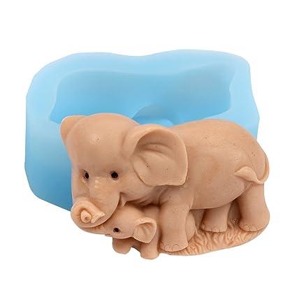 Nicole r1666 elefante madre y niño silicona jabón molde hecho a mano jabón molde para hacer