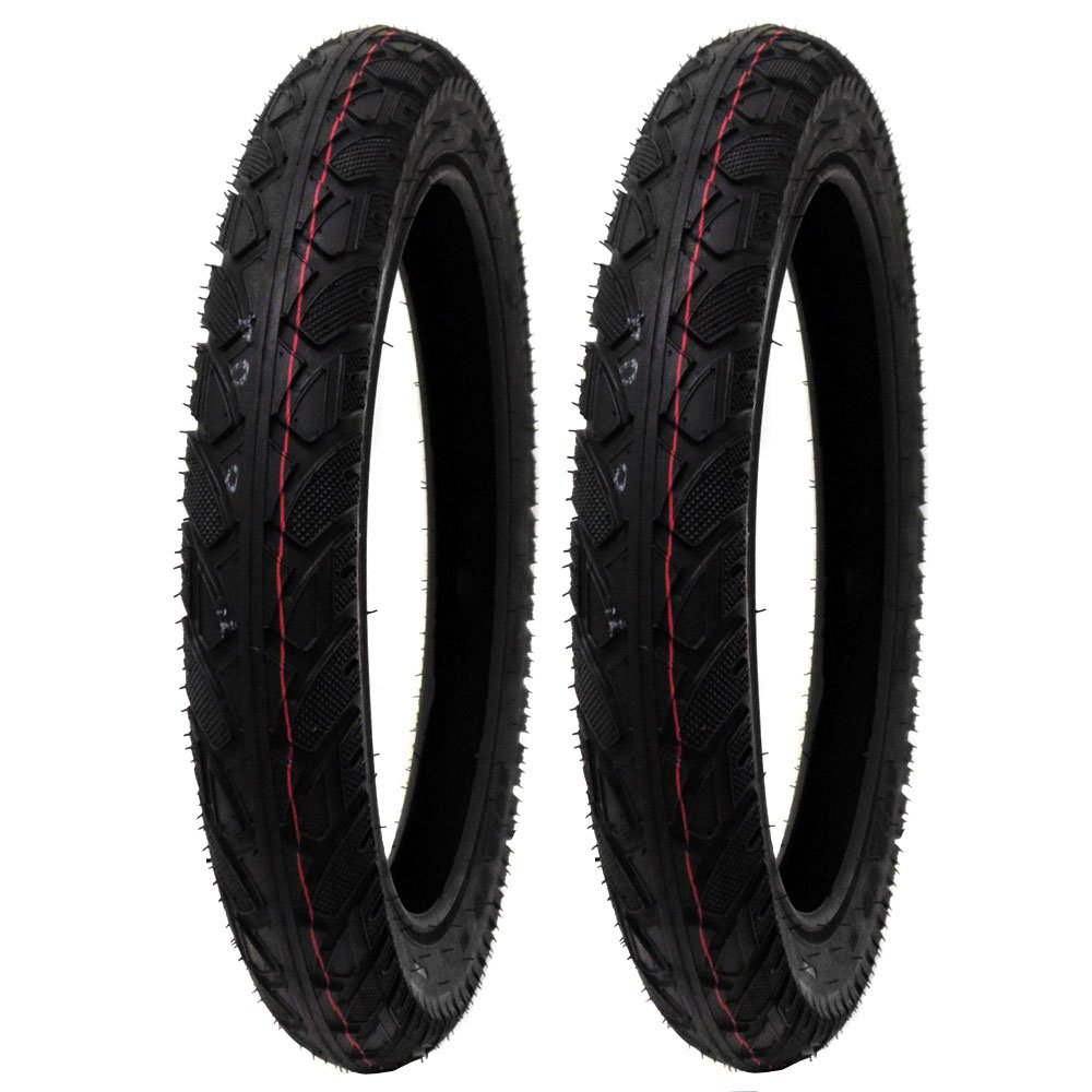 SET OF TWO: All-Terrain Tread Tire Size 16x2.50 (65-305) Fits Electric Bikes (e-bikes), Kids Bikes, Small BMX and Scooters Fits 12'' Rims