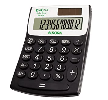 Aurora EC404 EcoCalc Calculator (Made From Recycled Plastic), Black