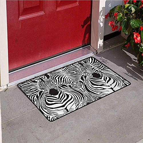 Jinguizi Zebra Print Welcome Door mat Illustration Pattern Zebras Skins Background Blended Over Zebra Body Heads Door mat is odorless and Durable W19.7 x L31.5 Inch Black White