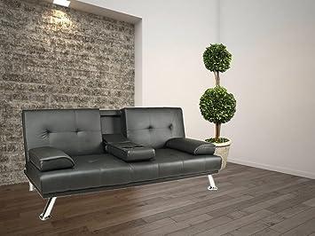Chic vienna sofa bett aus kunstleder in schwarz u2013 schlafzimmer