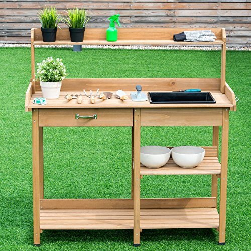Giantex Potting Bench Table Wood Potting Bench for Garden Plant Lawn Patio Indoor Outdoor Workstation Flower Pot Bench w/Sink Drawer Hooks Open Shelves by Giantex (Image #2)