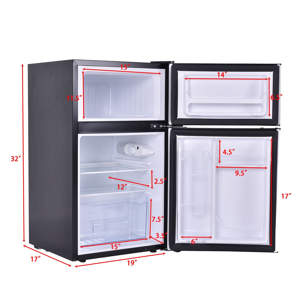 Costway 2 Door Compact Refrigerator Freezer Image 2