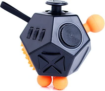 VCOSTORE 12 Sided Fidget Cube ADHD Dodecagon Fidget Toy Decompression for ADD Autism Kids and Adults(Black Orange