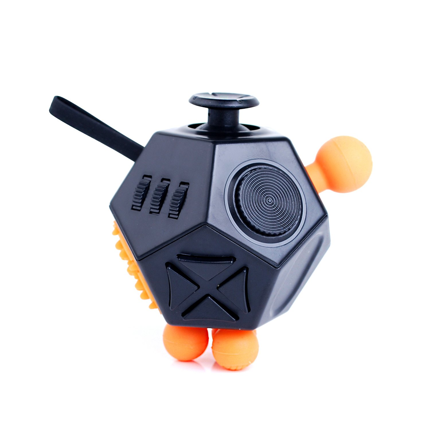 Fidget Cube Toys, Relieves Stress and Increases Focus for Adults and Children with ADHD ADD OCD Autism - 12 Sides Fidget Dice Relieves Stress and Increases Focus for Adults and Children with ADHD ADD OCD Autism - 12 Sides Fidget Dice (Black) BSL