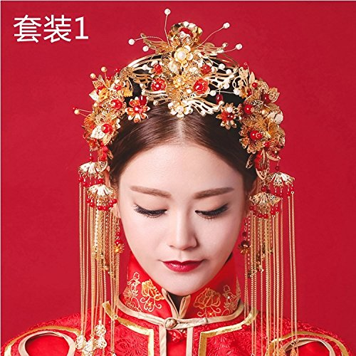 (Generic Chinese wedding costume headdress bride cheongsam Xiapei golden tassels married crown tiara Hair)