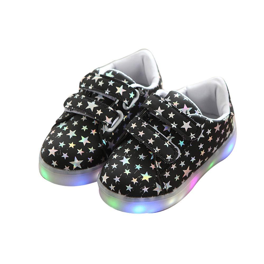 edv0d2v266 Child Baby Shoes LED Light Luminou Fashion Sneakers Colorful(Black 26/9MUSToddler)