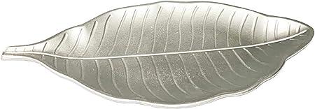 Acan Bandeja de Madera Plateada con Forma de Hoja 50 x 22 x 2 cm