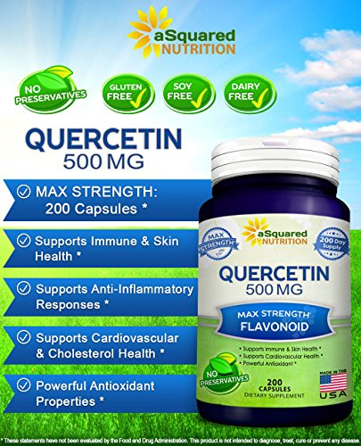 Pure Quercetin 500mg Supplement 200 Capsules Quercetin Dihydrate to Support Cardiovascular Health Max Strength Powder Complex Pills to Help Improve Anti Inflammatory & Immune Response