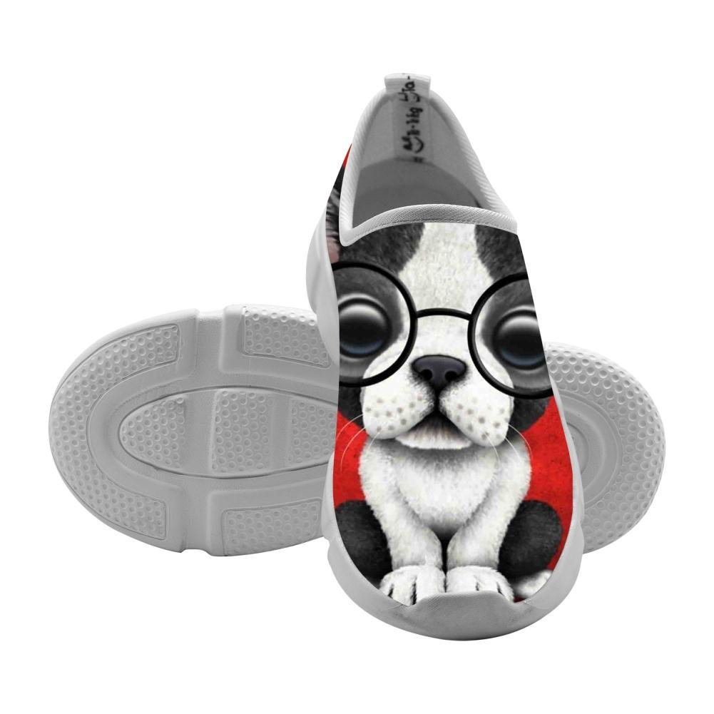 YEYEPENG Bulldog Puppy with Glasses On Kids Lightweight Casual Breathable Soft Running Shoes Fashion Customized Sports Running Shoes For Boys Girls11 D(M) by YEYEPENG