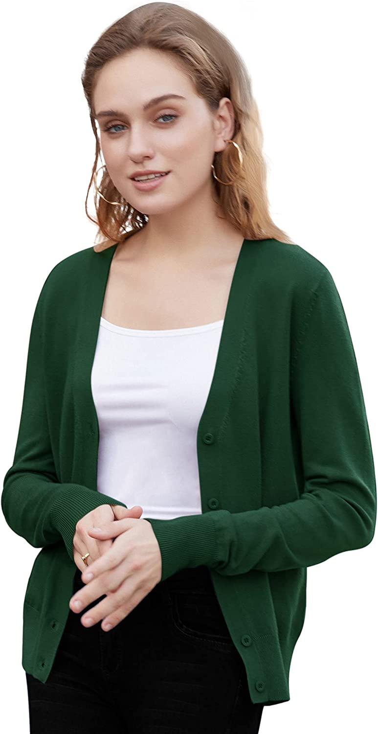 Womens V Neck Button Down Long Sleeve Basic Soft Knit Cardigan Sweater