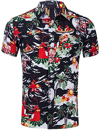 XI PENG Men's Tropical Short Sleeve Floral Print Beach Aloha Hawaiian Shirt (Christmas Santa Claus Black, Large) ()