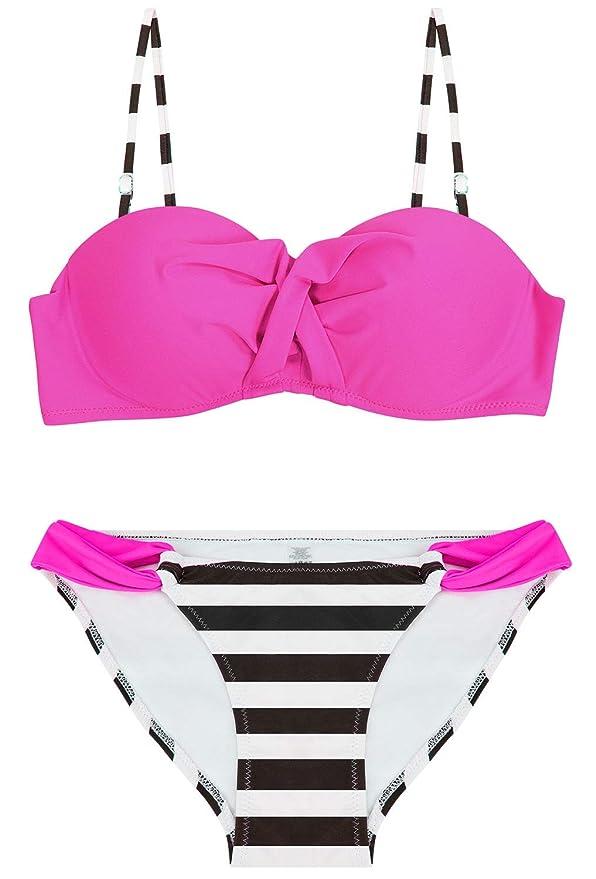 Bikini bandeau rosa fucsia para mujer