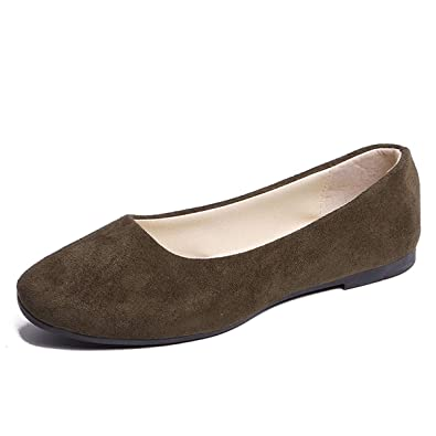 3fdbe76f5 Amazon.com | DeerYou Women's Square Toe Ballet Flats Slip-on Comfort  Walking Driving Loafers Classic Suede Ballerina Shoes | Flats