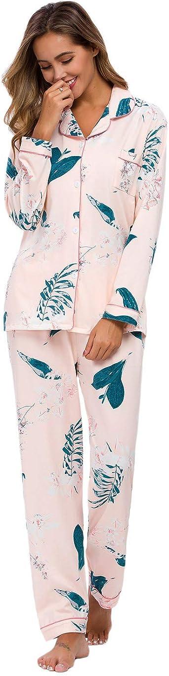 GOSO Pijama para Mujer-Conjunto de Pijama de Manga Larga Floral para Mujer Pijama de Manga Larga con Botones para Mujer