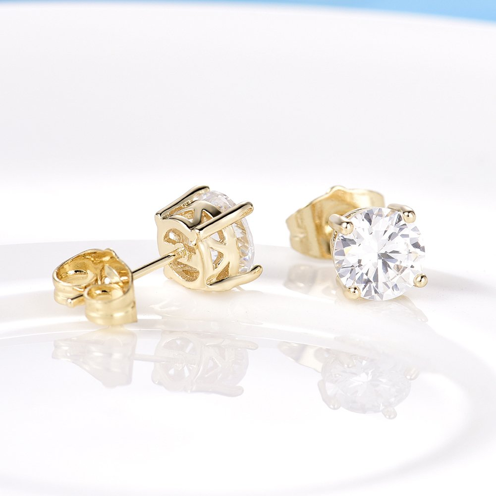 14K Gold Plated Cute Small White CZ Cubic Zircon Clear Crystal Stud Pierced Earrings Simple Jewelry