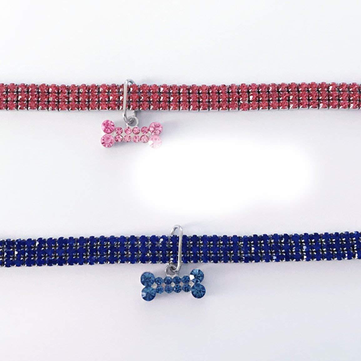 *Fantasyworld Collar de Perro del Gato cristalino Brillante del Collar de Perro de Mascota Mini Diamantes de Imitaci/ã/³n Gargantilla Collares de Lujo para Mascotas El/ã/¡Stico Joyer/ã/a Ajustable