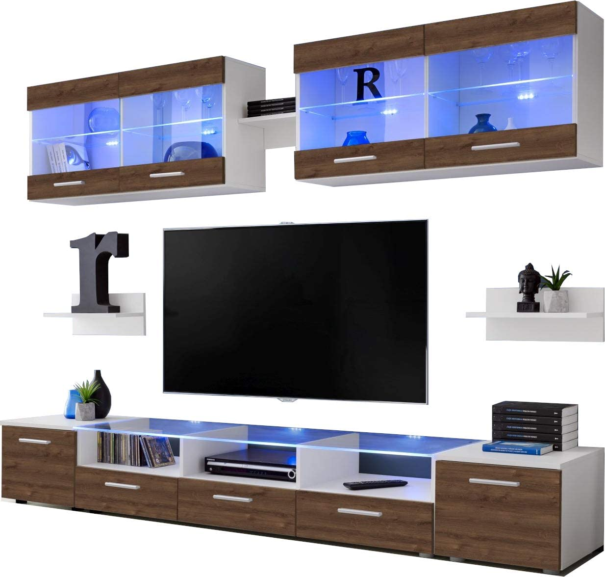 Carcass in White Matt//Front in Black High Gloss Multicolour LEDs with Remote ExtremeFurniture Flash TV Set