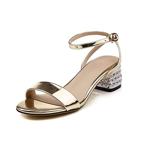 ad1af63948714 AdeeSu Womens Sandals Peep-Toe Buckle Adjustable-Strap High-Heel Cold  Lining Smooth