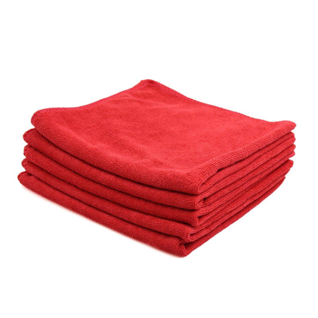 sourcingmap 5pz 40 x 40cm 300gsm casa in microfibra asciugamano auto Lavaggio Asciugatura panno rosso sourcing map a17030600ux0195