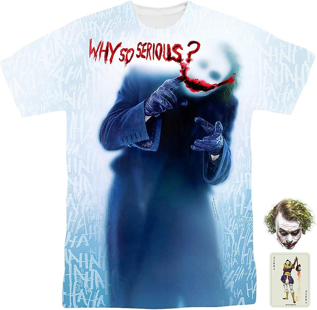 Batman Joker Why so Serious Poker Logo T-shirt Black Tee 100/% Cotton Unisex